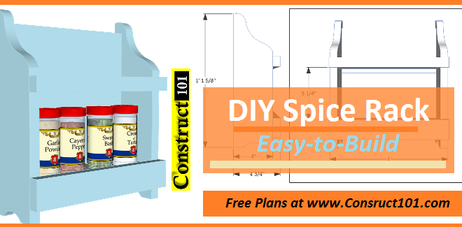 Home / Indoor Plans / DIY Spice Rack – Free Plans (PDF Download)