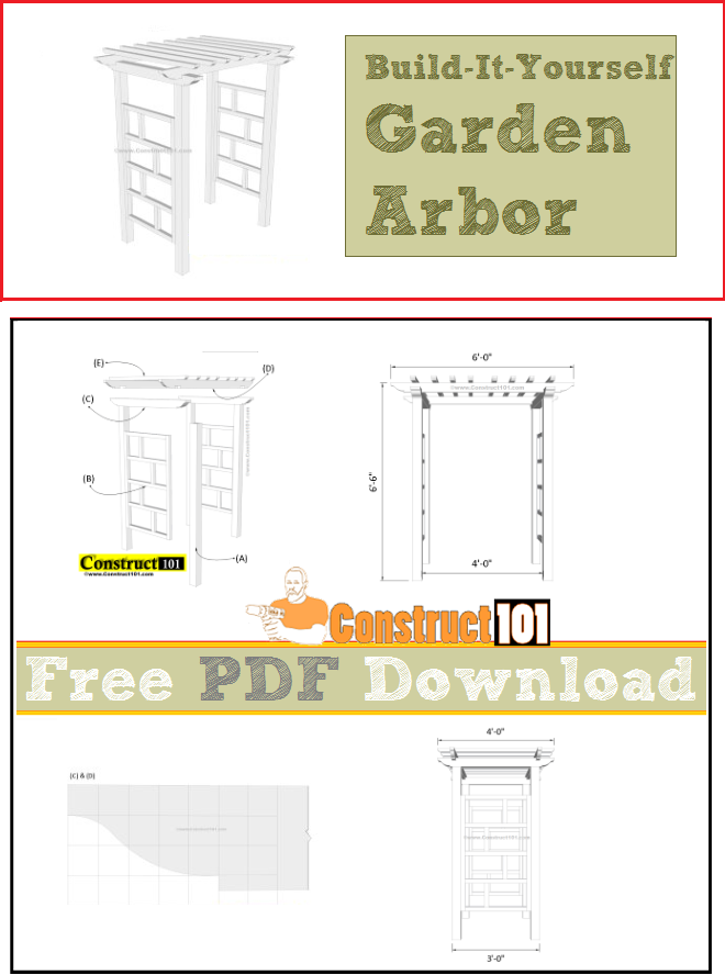 Arbor plans, free PDF download, cutting list, and shopping list.