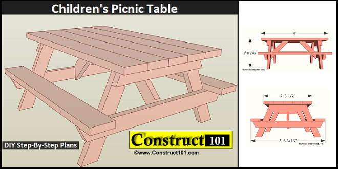 Childrens Picnic Table Plans PDF Download Construct101
