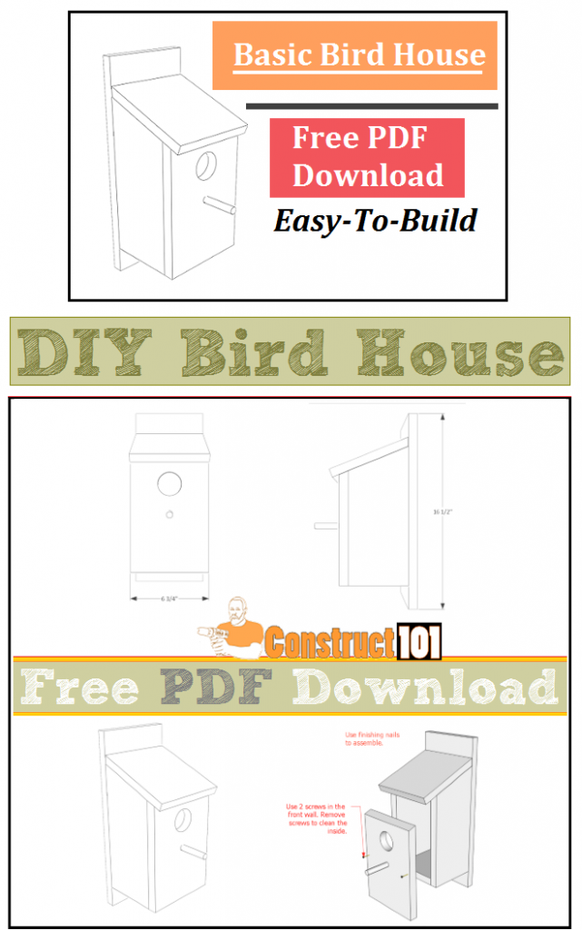 Bird house plans - free PDF download. Plans include step-by-step details, cutting list, shopping list.
