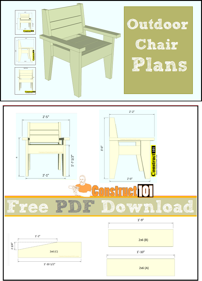 Outdoor chair plans, free PDF download, cutting list, and shopping list.