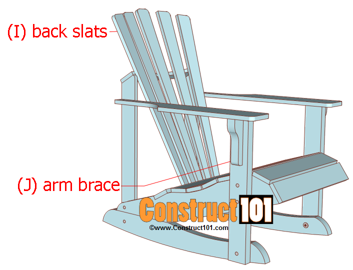 adirondack rocking chair plans back slats and arm brace installed