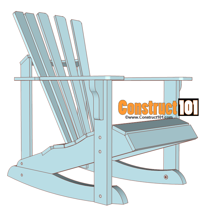 Adirondack rocking chair plans construct101 for Rocking chair design plans