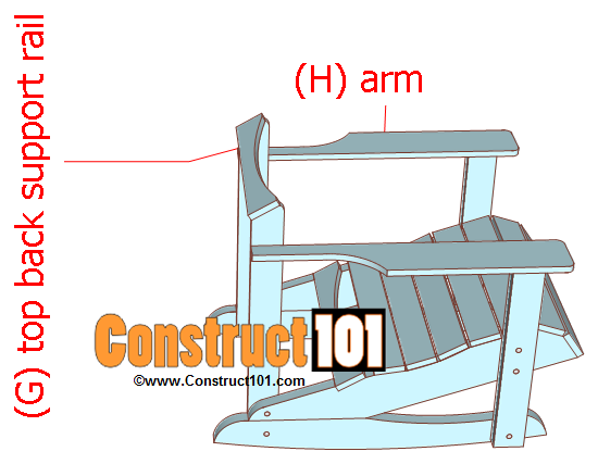 adirondack rocking chair plans install arm and top back support rail