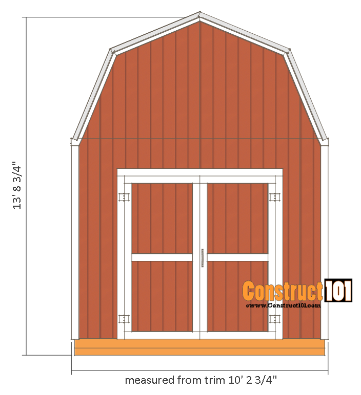 Shed plans 10x12 gambrel shed construct101 for Gambrel shed