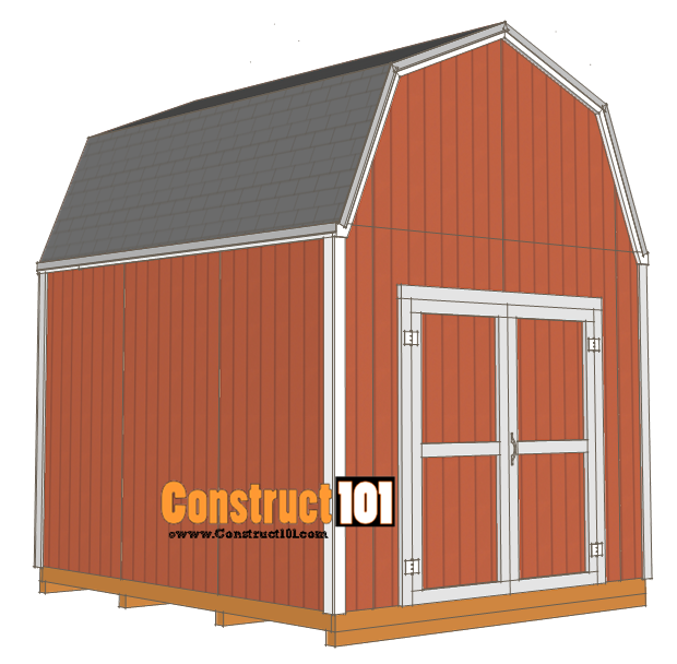 Shed plans 10x12 gambrel shed construct101 for Material list for shed