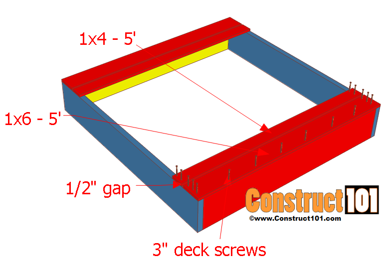 sandbox plans with bench and lid step 2
