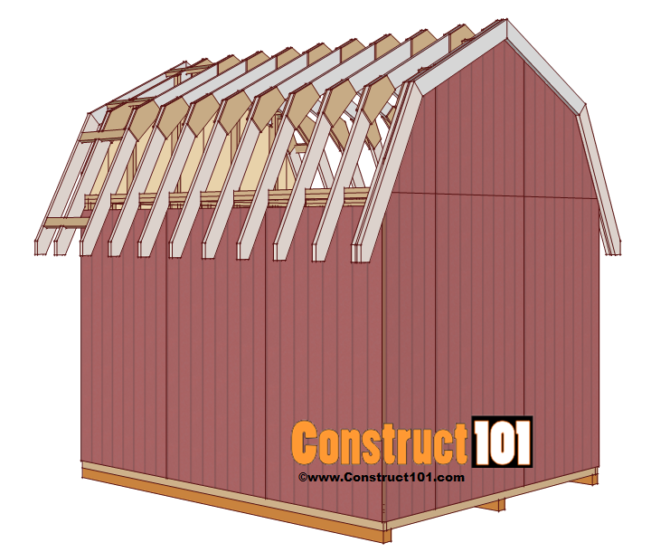 Shed plans 10x12 gambrel shed construct101 for Gambrel roof dimensions