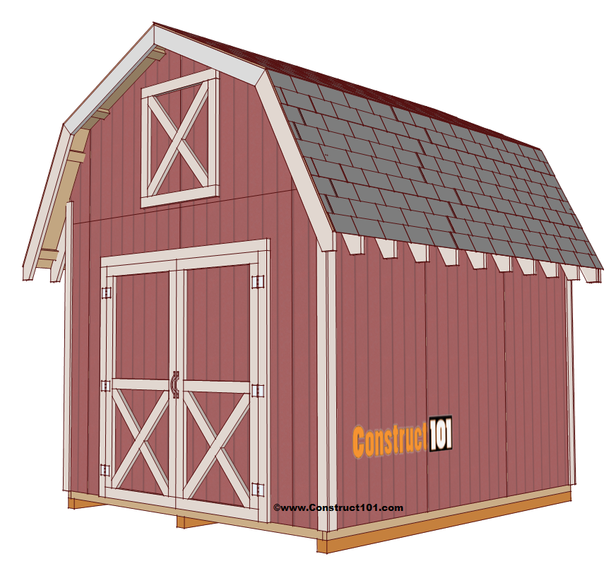 Shed plans 10x12 gambrel shed construct101 for Free barn plans with loft