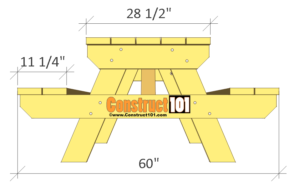 Traditional Picnic Table Plans - PDF Download - Construct101