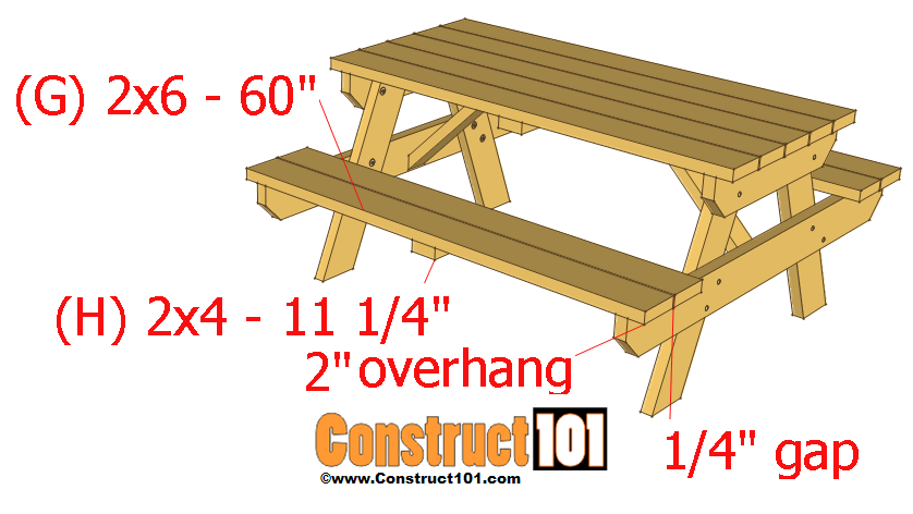 Cut four 2×4's to 60″ for the bench (G). Attach as shown on ...