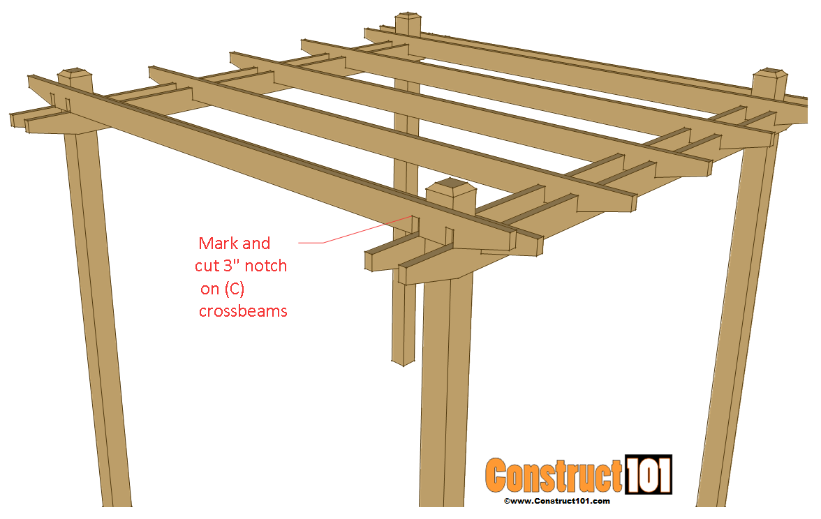 Simple diy pergola plans construct101 for Simple gazebo plans