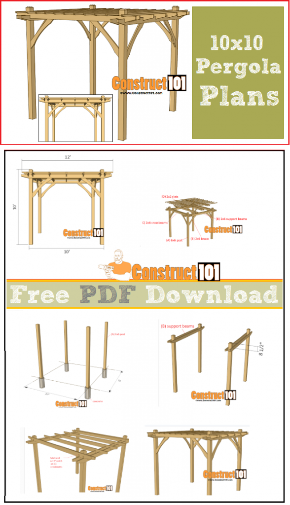 10x10 pergola plans pdf download construct101 for Ground level deck plans pdf