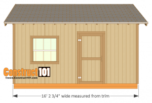 12x16 shed plans - front view
