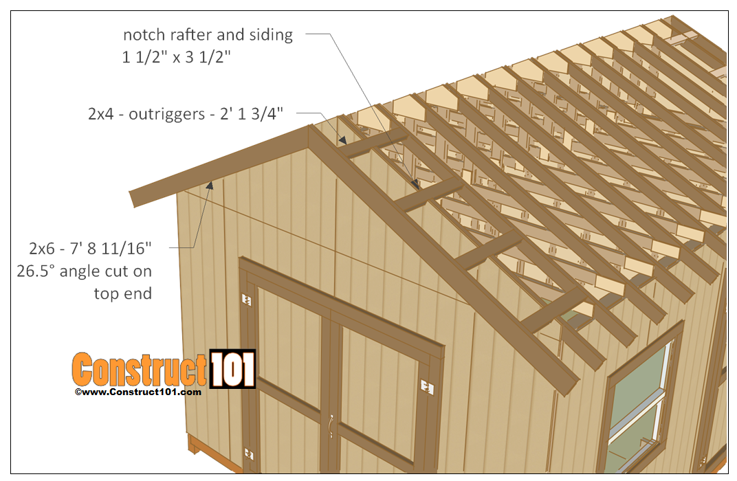 12x16 shed plans - truss rafters outriggers