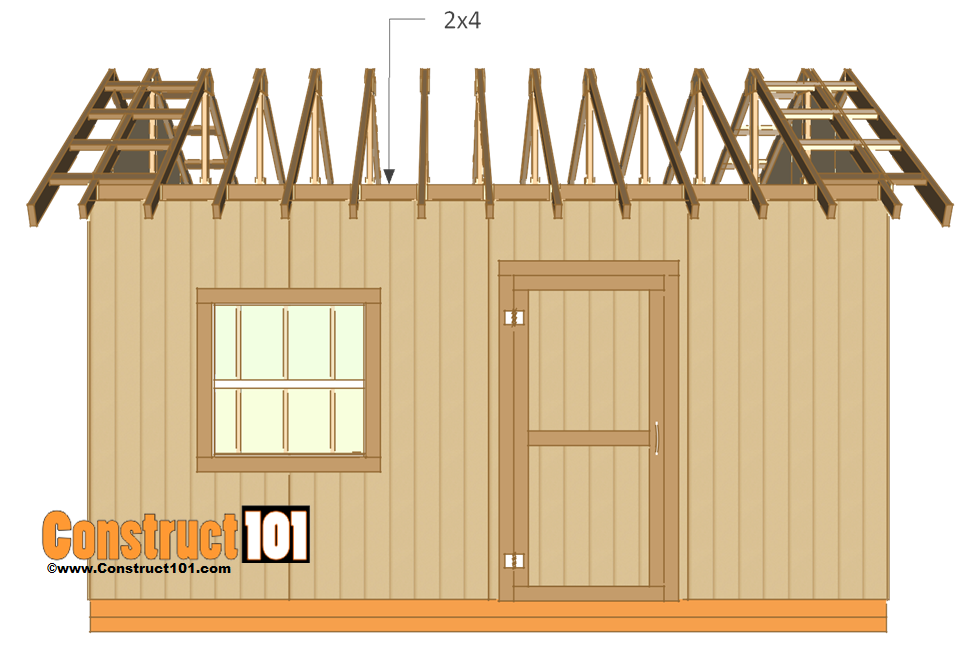 12x16 shed plans - wall frame bock