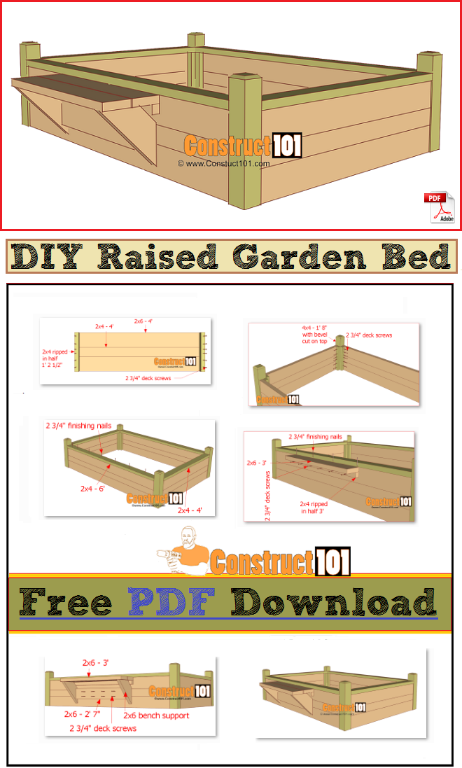 Raised Garden Bed with Bench - PDF Download - Construct101