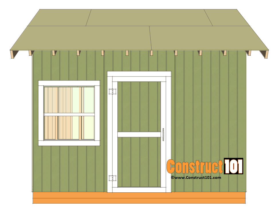 12x12 shed plans gable shed construct101 for Shed roof plans