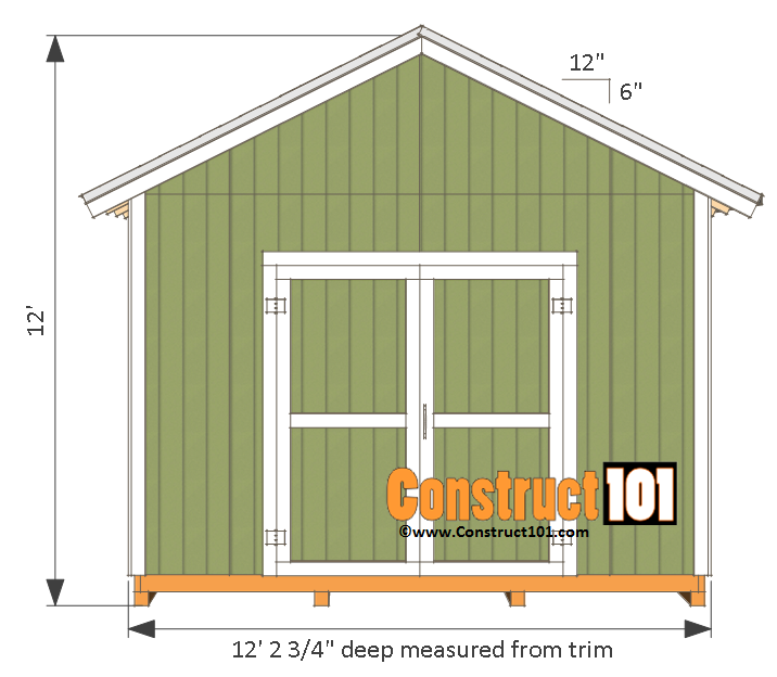 12x12 shed plans gable shed pdf download construct101 for Shed building plans pdf