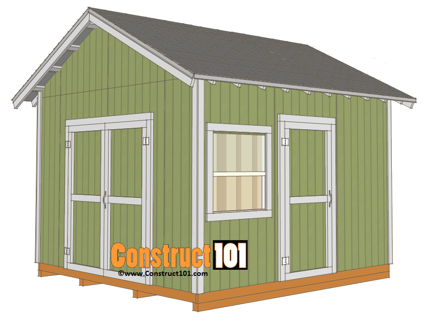 12x12 shed plans gable shed pdf download construct101 for Shed plans and material list