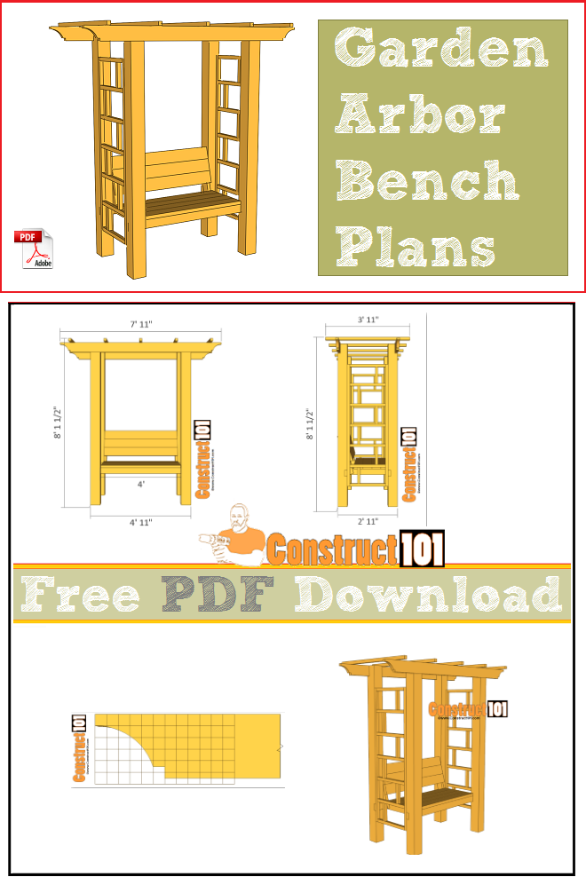 Arbor bench plans, free PDF download, cutting list, and shopping list.