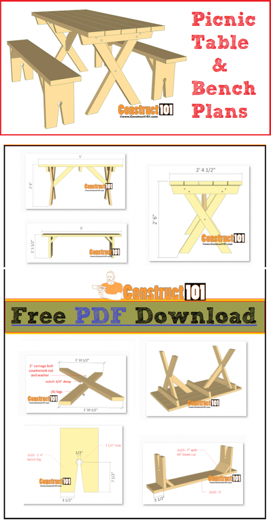 Picnic table and bench plans - free PDF download, cutting list, and shopping list.