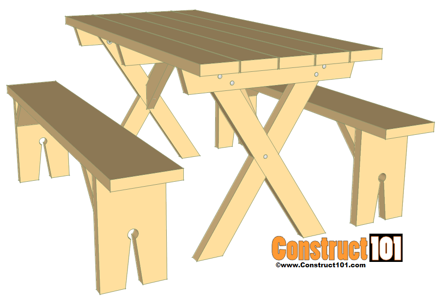 Picnic table bench plans construct101 for Material table design