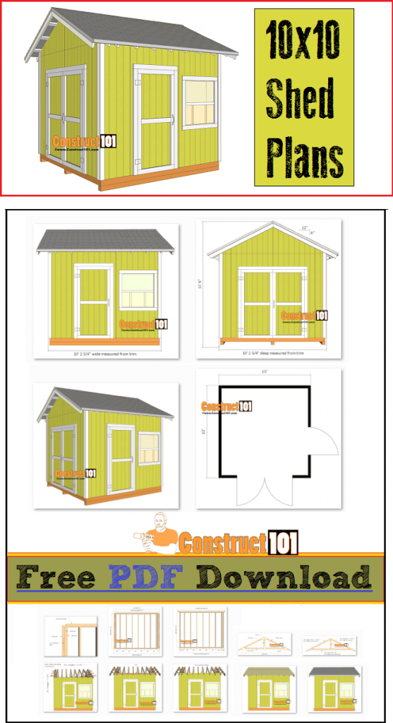 Shed plans - 10x10 shed, includes free PDF, cutting list, and shopping list.