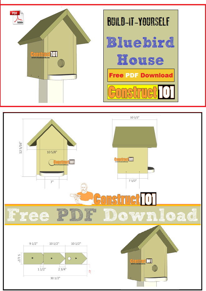 Bluebird house plans, free PDF download, cutting list, and shopping list.