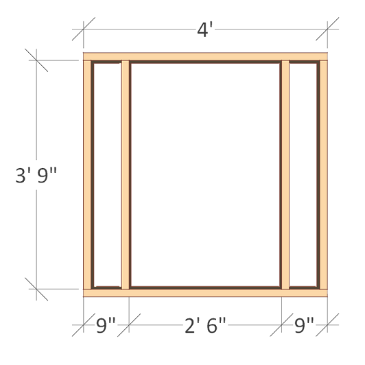 chicken coop plans - design #2 front wall frame