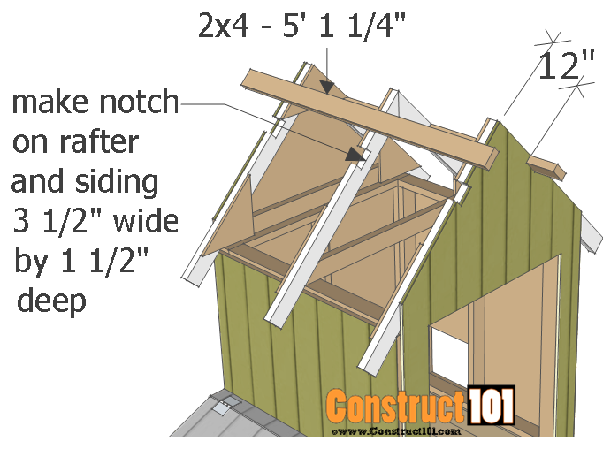 chicken coop plans - design #2 rafter supports