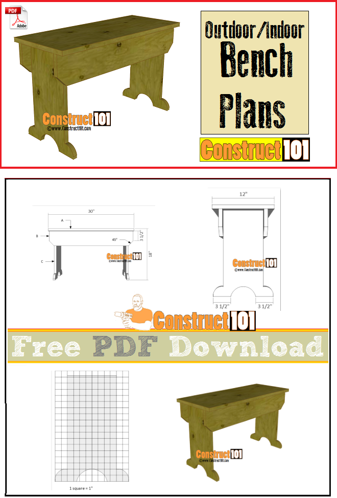 Outdoor/Indoor bench plans, free PDF download, cutting list, and shopping list.