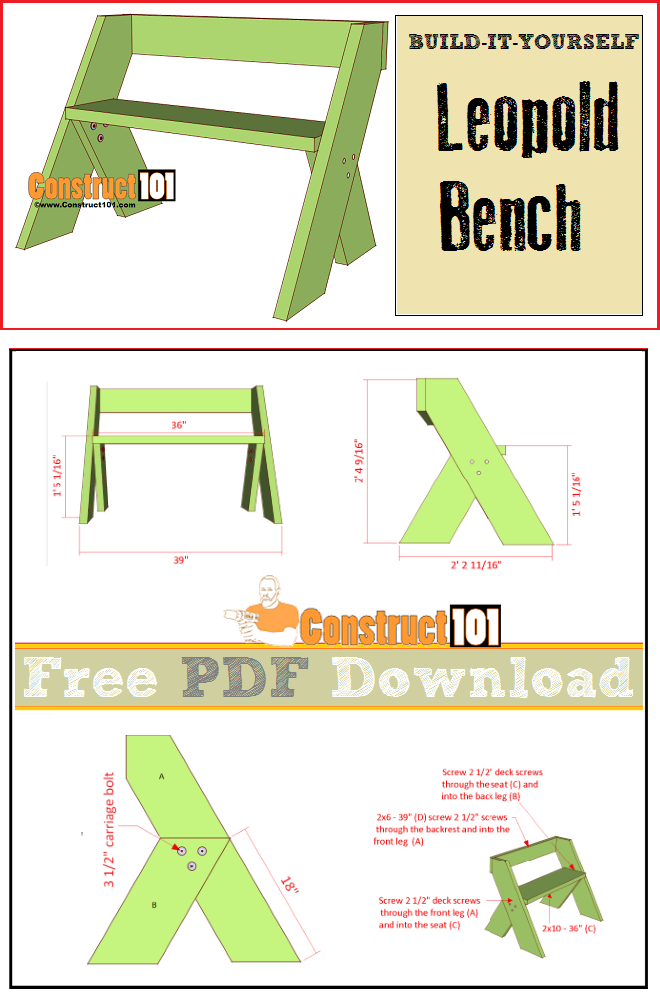 Leopold bench plans, free PDF download, cutting list, and shopping list.