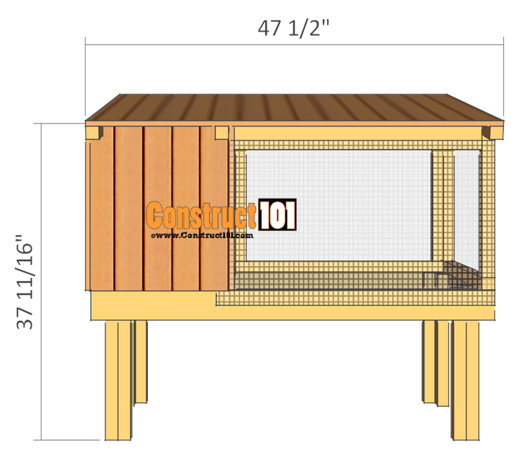 rabbit hutch plans back view