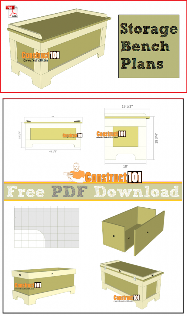 Storage bench plans, free PDF download, cutting list, and shopping list.