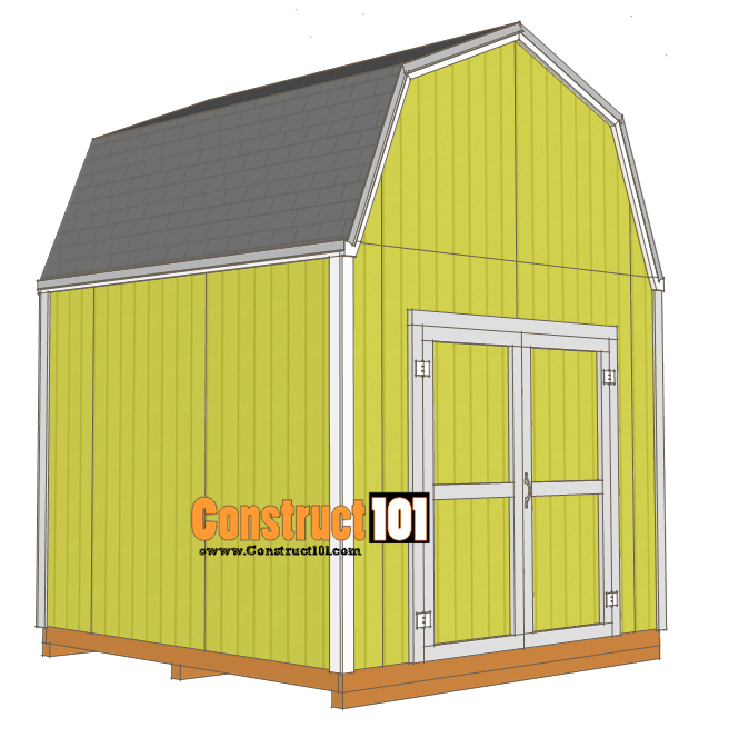 10x10 shed plans gambrel shed construct101 for Gambrel shed