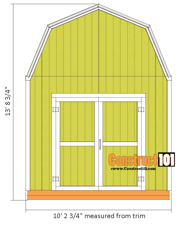 10x10 shed plans gambrel shed front view