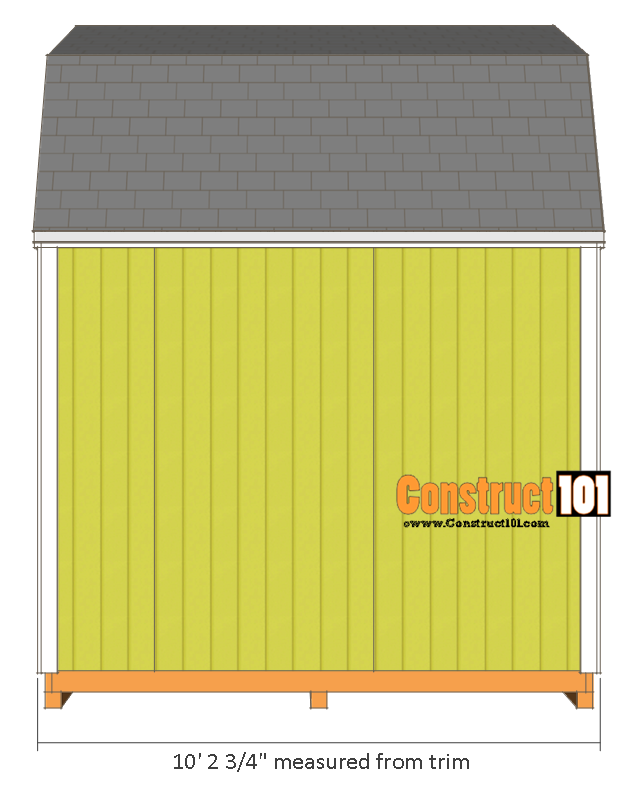 10x10 shed plans gambrel shed side view
