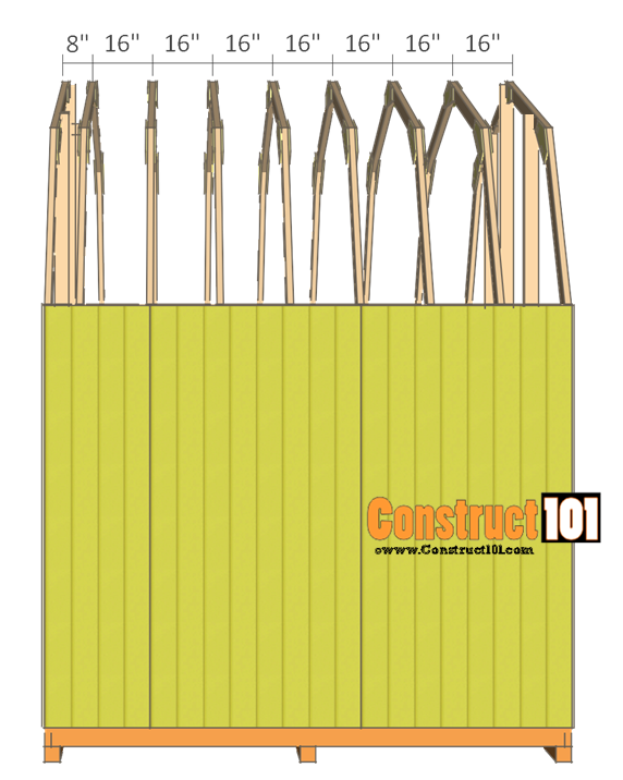 10x10 shed plans gambrel shed - truss installed