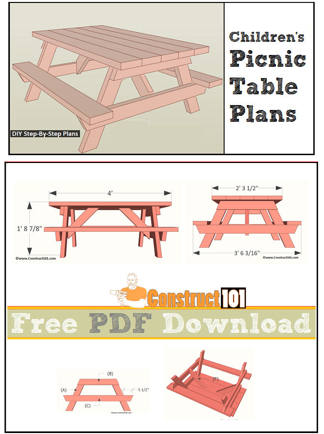 Children's picnic table plans, free PDF download, cutting list, and shopping list.