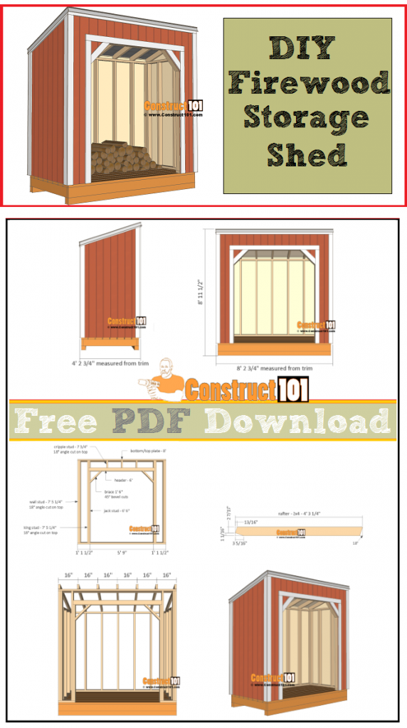 Firewood shed plans - 4x8, free PDF download, cutting list, and shopping list.