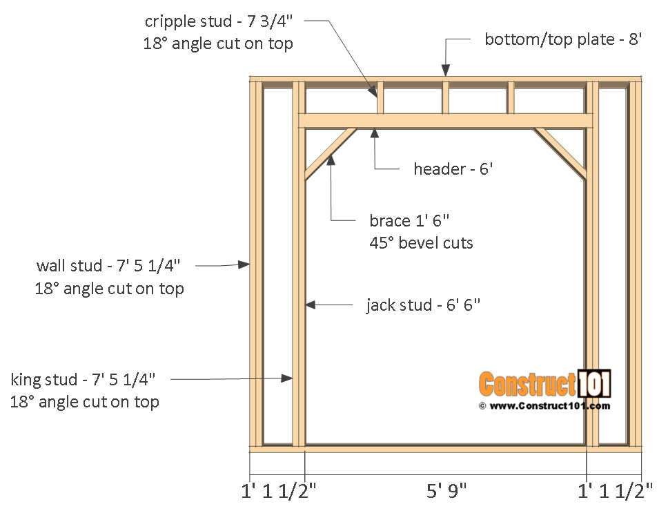 Firewood shed plans - 4x8 - front wall frame.