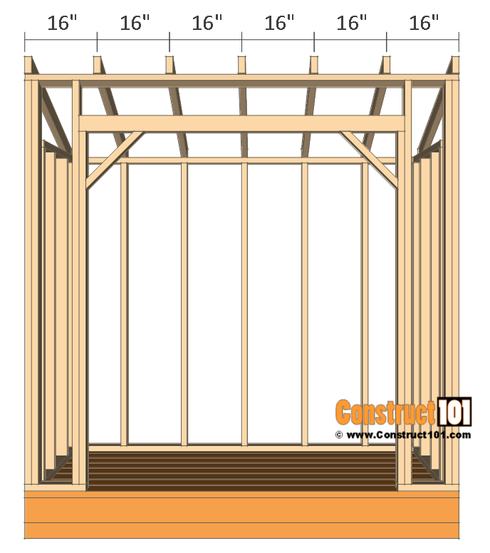 Firewood shed plans - 4x8 - rafters 16 inches O.C.