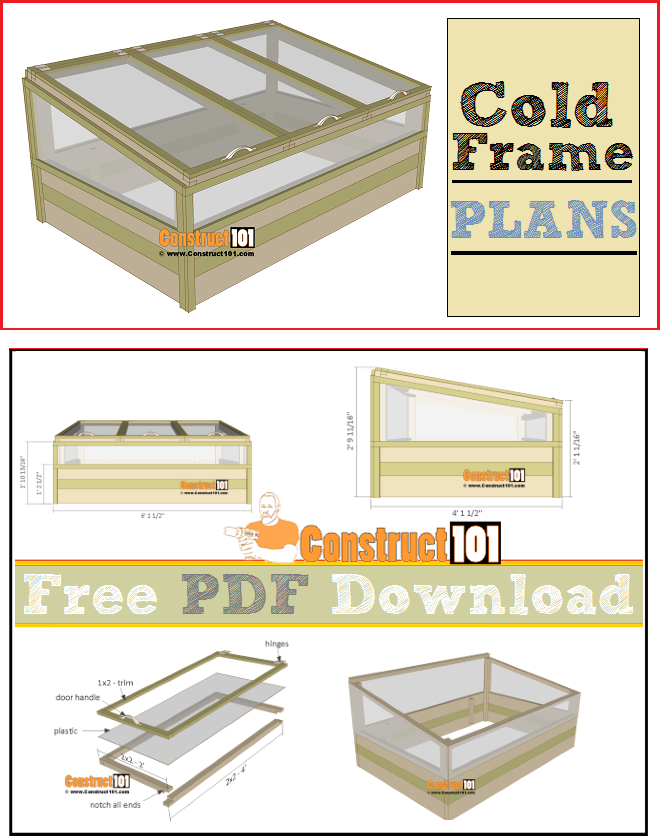 Cold frame plams. free PDF download, cutting list. and shopping list.
