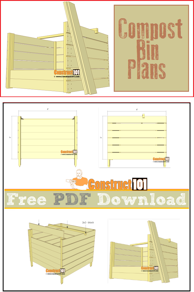Compost bin plans, free PDF download, cutting list, and shopping list.