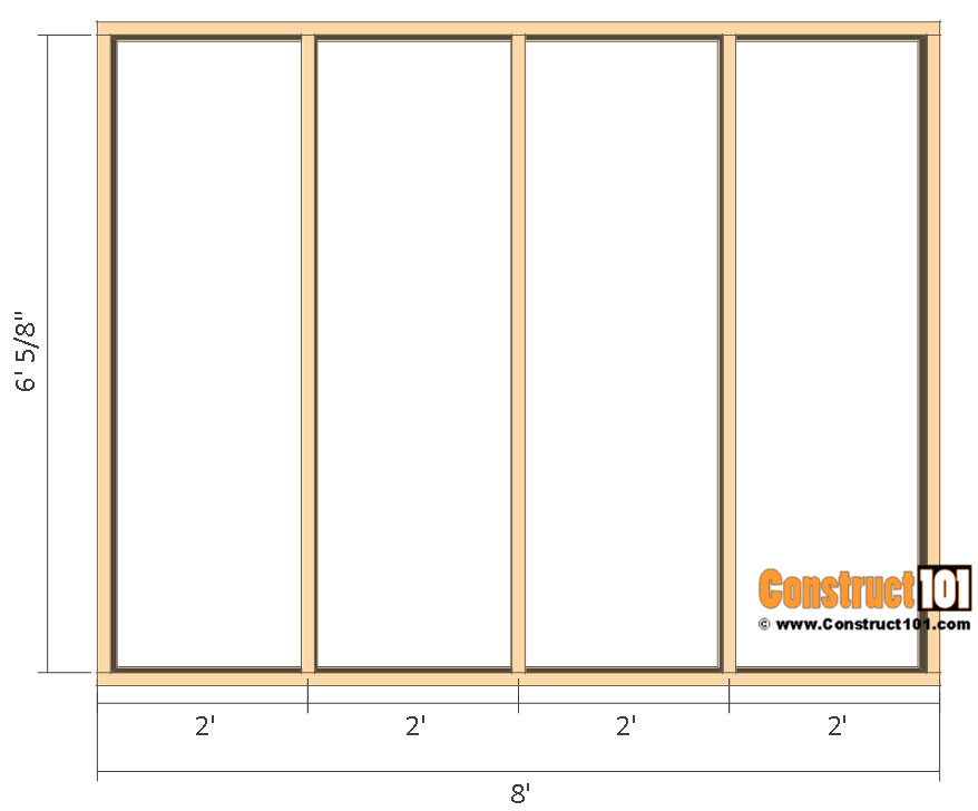 Garden shed plans , 8'x8, right and left wall frames.