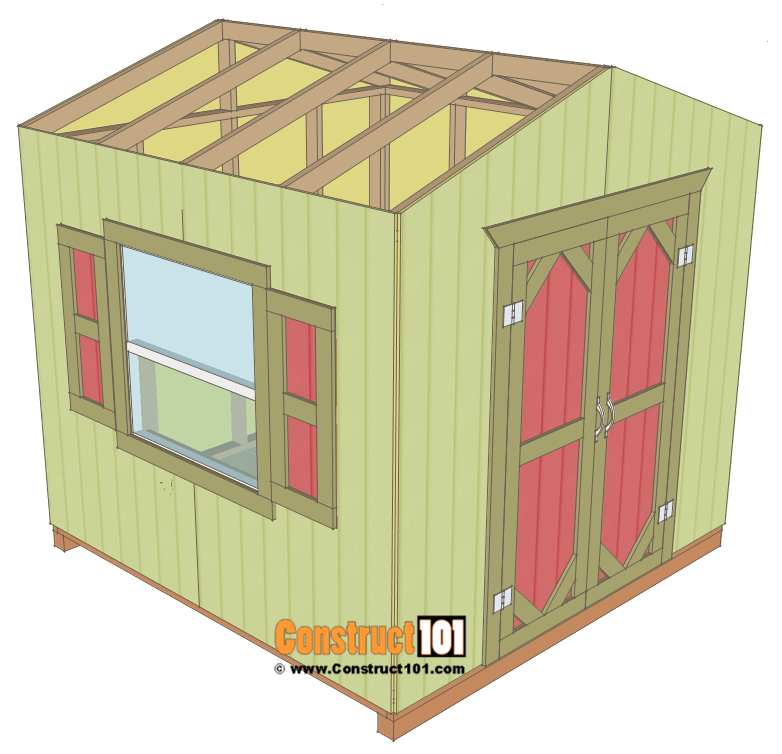 Garden shed plans, 8'x8', siding.
