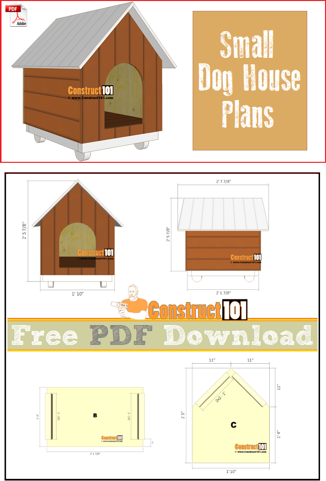 Small dog house plans, free PDF download, cutting list, and shopping list.