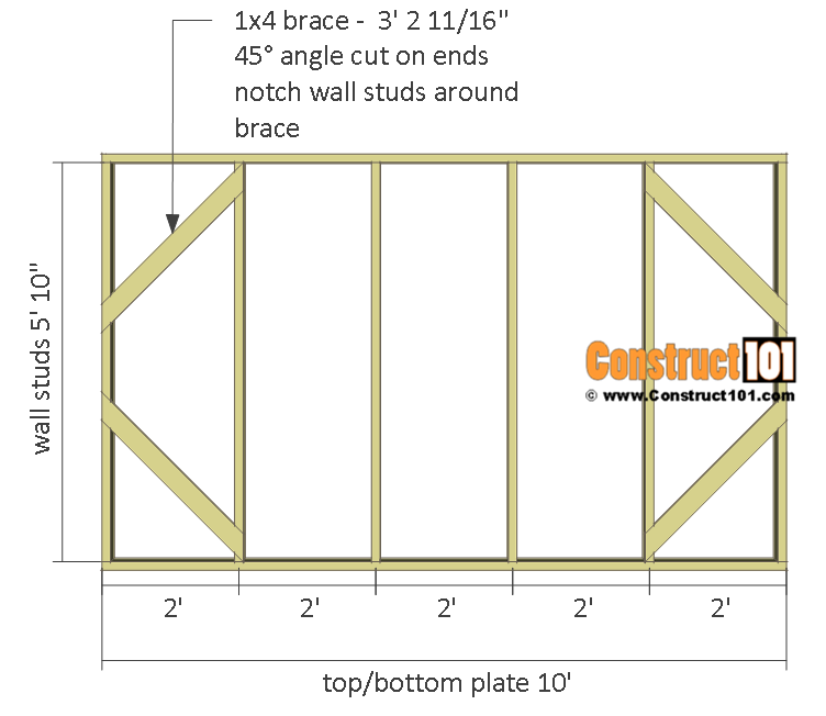 Chicken coop run plans - 10x8 - back wall frame.