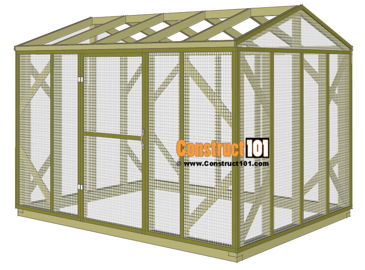 Chicken coop run plans - 10x8 - door installed.